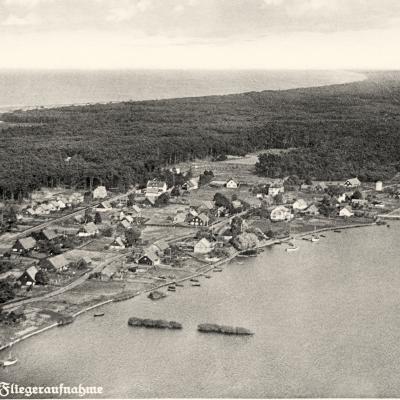Przedwojenne ujęcie Wyspy Sobieszewskiej z lotu ptaka