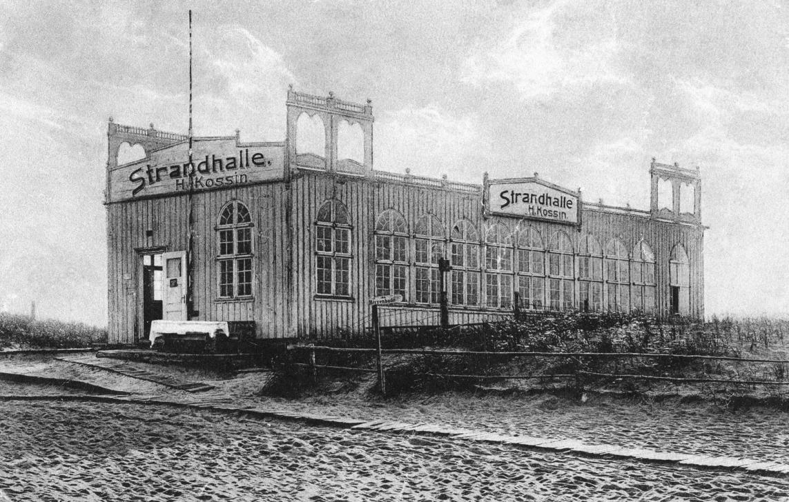 Hala plażowa na plaży w Sobieszewie. Ok.1910 roku.