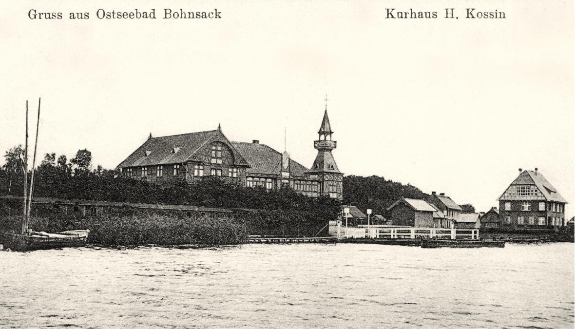 Nieistniejący Dom Zdrojowy (niem. Kurhaus) nad Wisłą w Sobieszewie (niem. Bohnsack) na początku XX w.