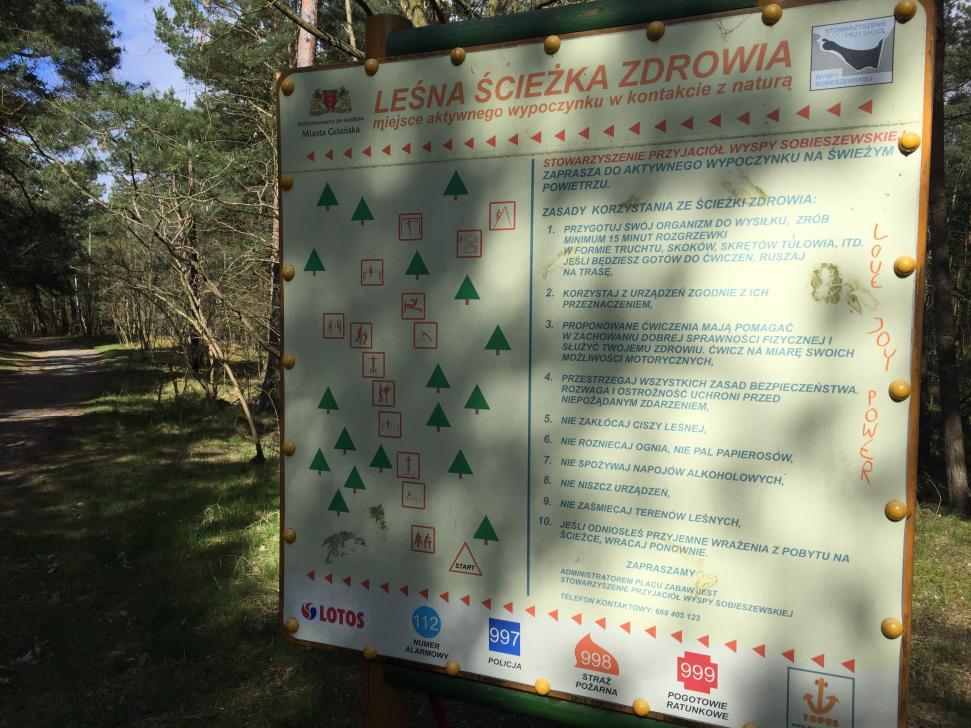 Leśna ścieżka zdrowia - tablica informacyjna z mapą i regulaminem ścieżki przy ul. Radosnej w Sobieszewie