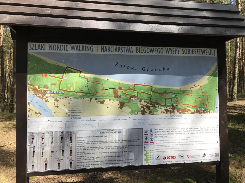 Tablica informacyjna na początku szlaku w Sobieszewie przy ul. Falowej