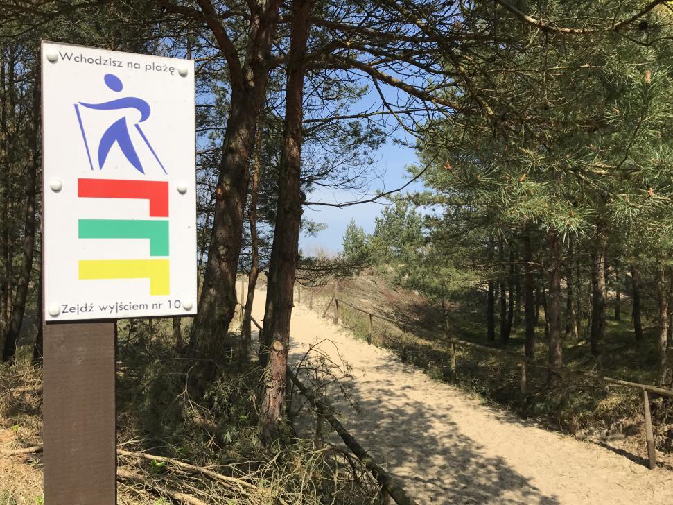 Oznaczenie szlaków Nordic Walking przy wejściu na plażę w Orle