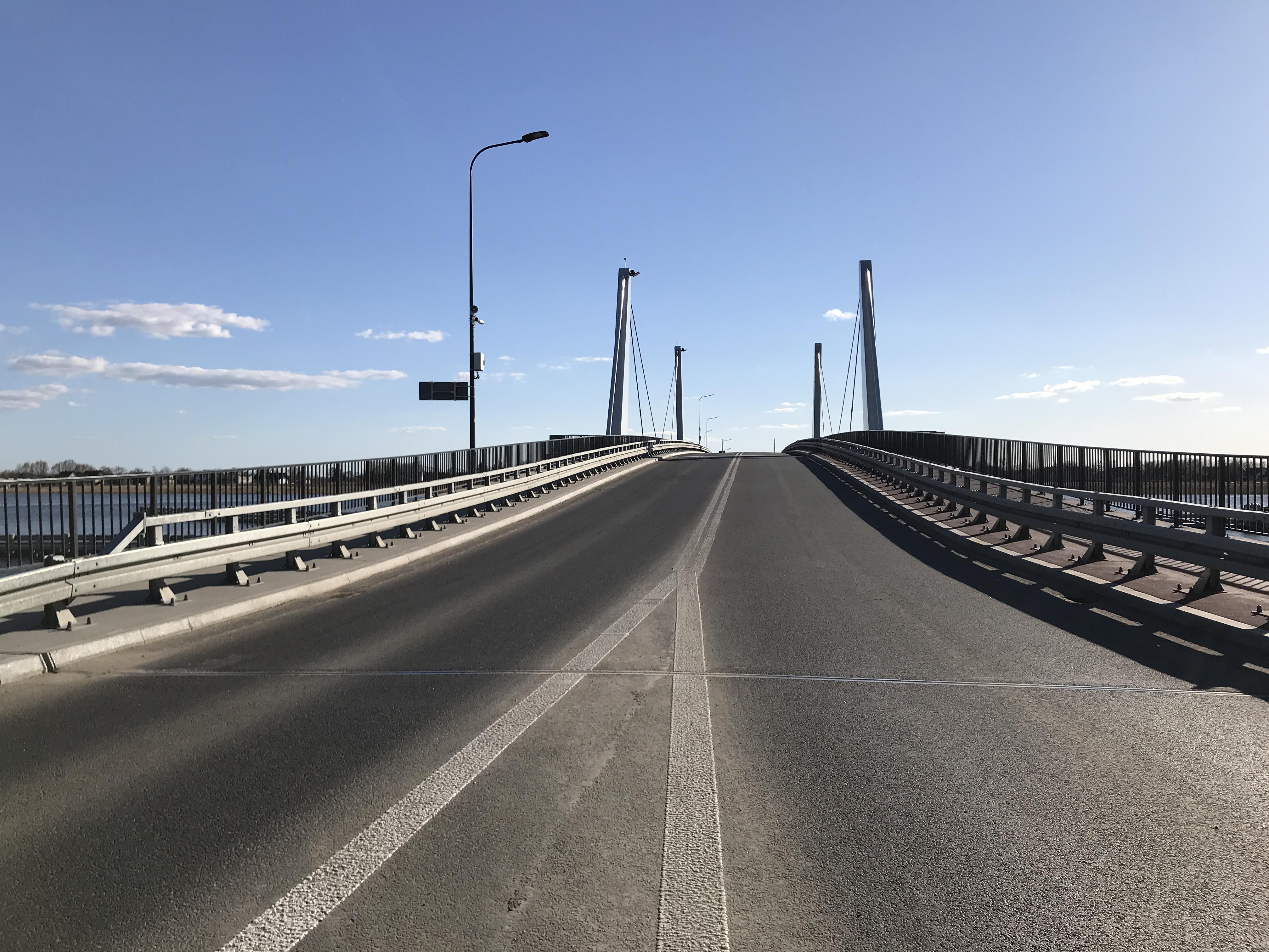 Nowy most Sobieszewski wybudowany w 2018 roku - wjazd od strony Sobieszewa