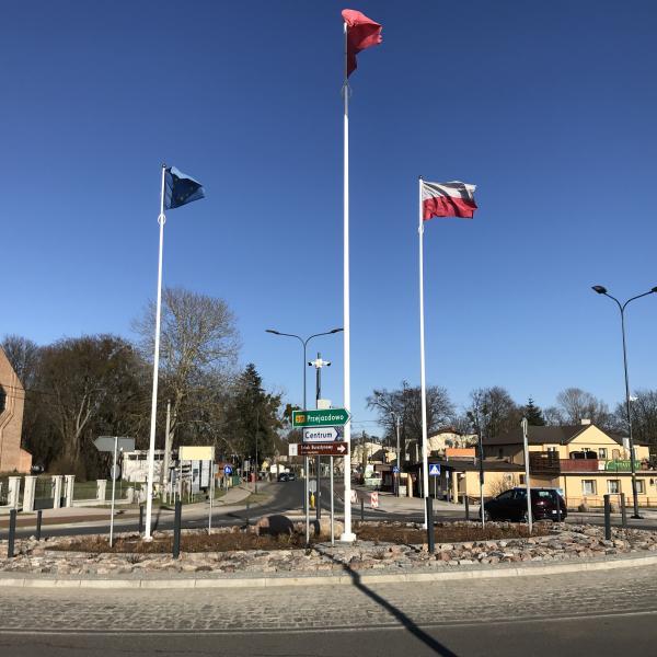 Rondo Rybaków przy nowym moście w Sobieszewie