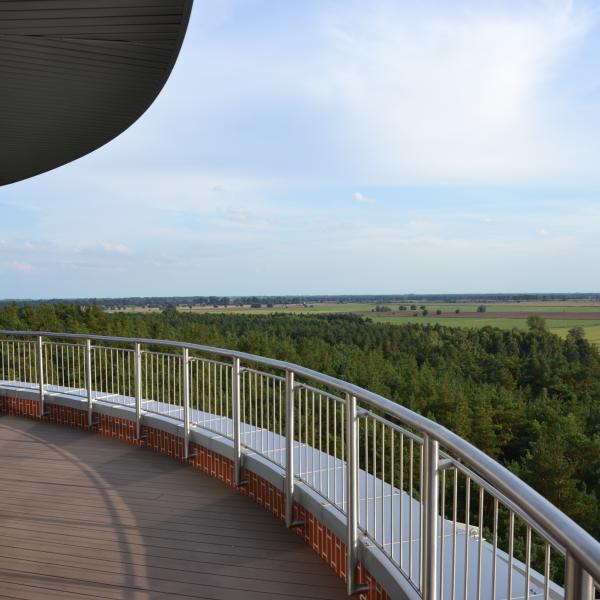 Taras widokowy na górze wieży zapewnia panoramiczny widok 360 stopni
